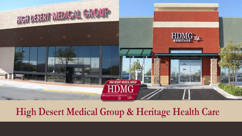 Images of the front of High Desert Medical Group and Heritage Health Care Buildings